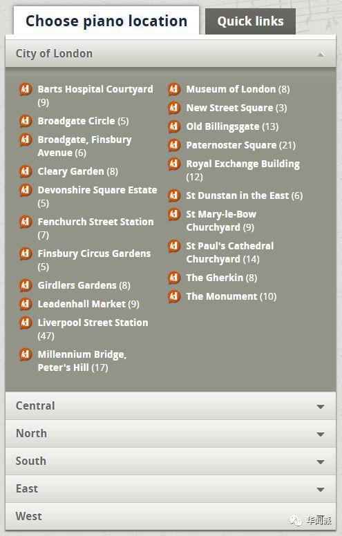 伦敦街头钢琴的分布地点可以在网上查到